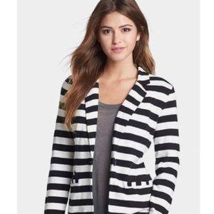 Caslon Black Striped Jersey Blazer